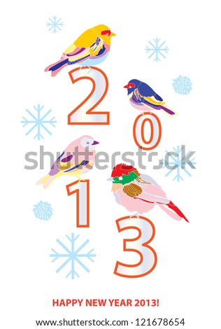 2013 New year card with cute birds - stock vector