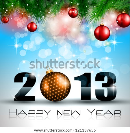 2013 New Year Celebration Background with Glitter and Rainbow Colours - stock vector