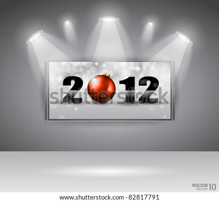 2012 New Year Celebration Cinema Panel with Glitters and a lot of stars and lights suggestive effect.