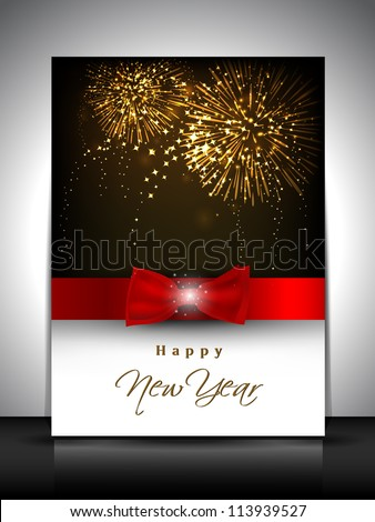 2013 new year celebration gift card or greeting card decorated with red ribbon EPS 10