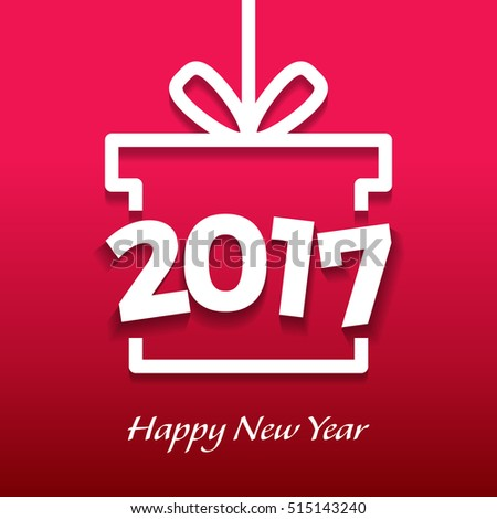 2017 New Year Celebration in Gift box vector illustration template