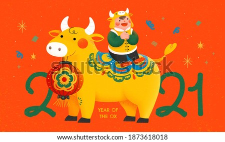 2021 new year celebration poster with cute boy sitting on bull and making greeting gesture, concept of Chinese zodiac sign ox