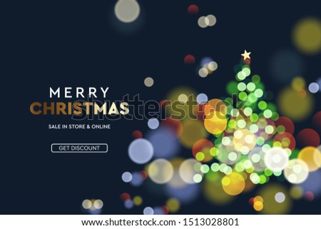 2020 New Year. Christmas tree sparkle blur bokeh effect background . Dark Xmas backdrop. Text Merry Christmas. Vector illustration for web banners invitation poster