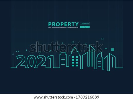 2021 new year city skyline line art creative design, With property management development idea concept, Vector illustration modern page cover layout template