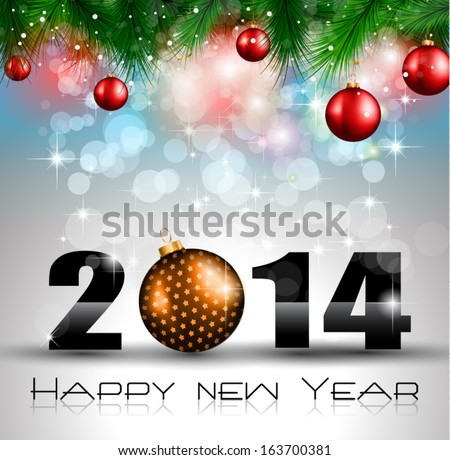 2014 new year colorful background for your party invitations
