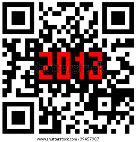 2013 New Year counter, QR code vector. - stock vector