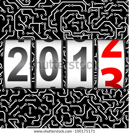 2013 New Year counter, vector. Seamless pattern.
