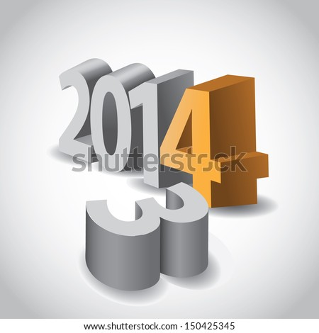 2014 New year 3D symbol 3 knocked over. EPS 10 vector, grouped for easy editing. No open shapes or paths.