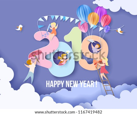 2019 New Year design card with kids, blue sky background. Vector illustration. Paper cut and craft style.
