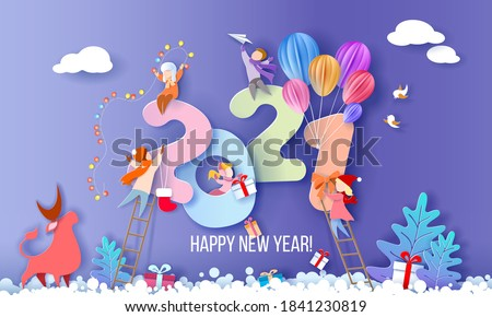 2021 New Year design card with kids on blue winter background. Vector illustration. Paper cut art and craft style.