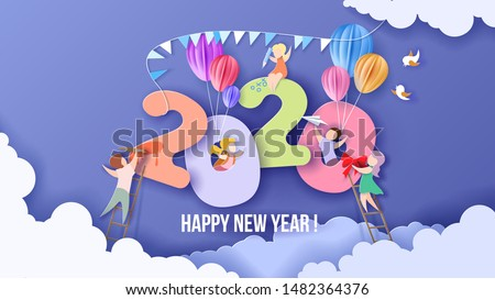 2020 New Year design card with kids on sky background with clouds. Vector illustration. Paper cut and craft style.