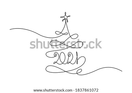 2021 New Year design in continuous line art drawing style. Christmas tree with 2021 year lettering. Minimalist black linear sketch isolated on white background. Vector illustration