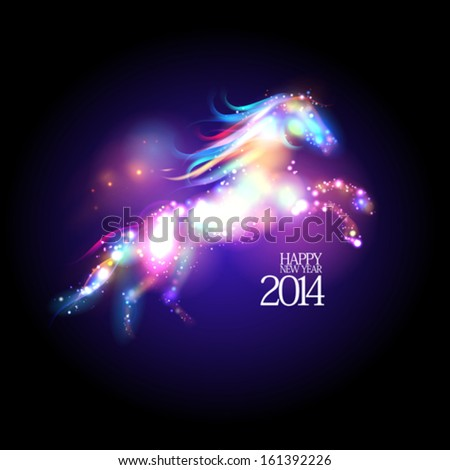 2014 new year design with abstract neon horse Eps 10
