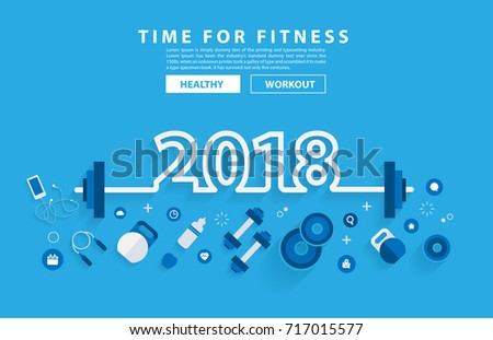 2018 new year fitness concept workout with equipment. Vector illustration modern layout template flat design