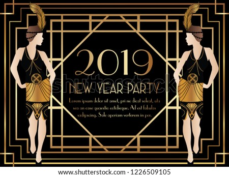 2019 new year gatsby art deco party invitation with woman
