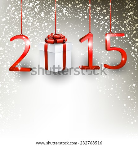 2015 new year gift background. Vector illustration.