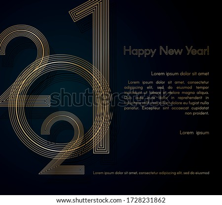 2021 New Year Gold lines on a blue background Creative element for design luxury card invitation party for the New Year 2021 and Christmas Modern design gold line 2021 festive invitation card Vector