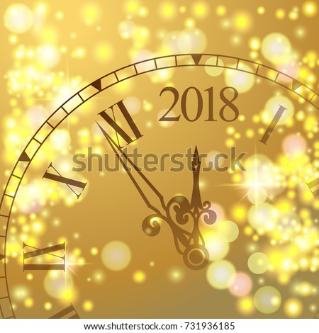 2018 New Year Gold shining background with clock. Blured colored flare banner with watch and fireworks. Vector illustration.