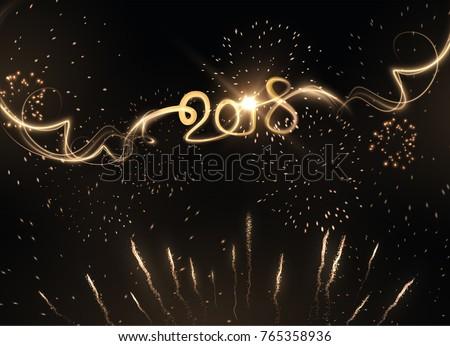 2018 new year golden light
