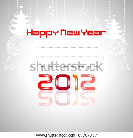 2012 New year greeting card on hanging stars, tree, text, pink, red color, with white background.