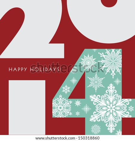 2014 New Year Greetings Card. Happy Holidays. Stylish design. Vector EPS 10 illustration.