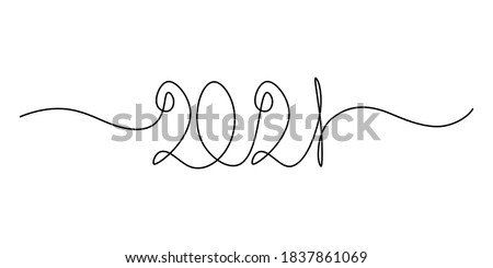 2021 New Year handwritten lettering. Continuous line drawing text for greeting card design. Vector illustration