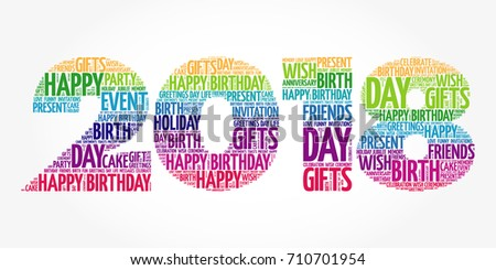 2018 New Year, Happy Birthday word cloud collage, holiday concept background