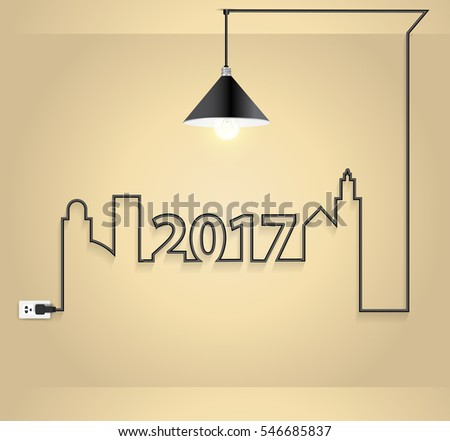 2017 new year interior design with creative wire light bulb idea concept in wall room, Vector illustration modern layout template design