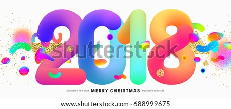 2018 New Year lettering | Typographic holiday design