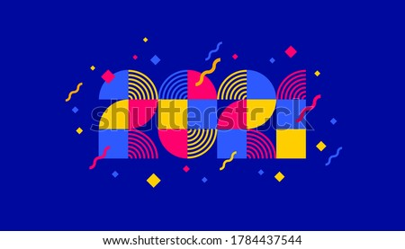 2021 new year logo composed from geometric shapes. Greeting design with multicolored number of year. Design for greeting card, invitation, calendar, etc.