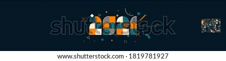 2021 New Year logo design composed from geometric shapes. Greeting with multicolored number of year. Template for greeting card, invitation, banner. Vector illustration isolated on green background.