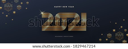 2021 new year logo. Greeting design with golden  number of year and snowflakes. Design for greeting card, invitation, calendar, etc.