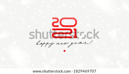 2021 new year logo with calligraphic holiday greeting on a white background with snowflakes. Design for greeting card, invitation, calendar, etc.
