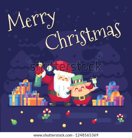 2019 New year Merry Christmas symbol. Santa Claus with champagne, glass, toast gifts, Christmas trees candy, sweets and symbols 2019 pig. Decoration of poster card holiday background. Vector flat #1248565369