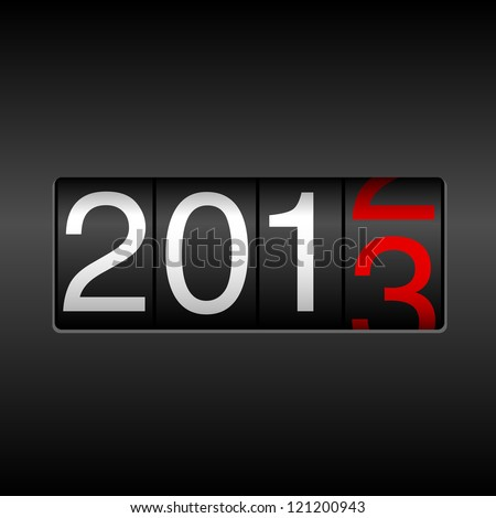 2013 New Year Odometer - New Year 2013 design, odometer style with white and red numbers.  Uses simple gradients.