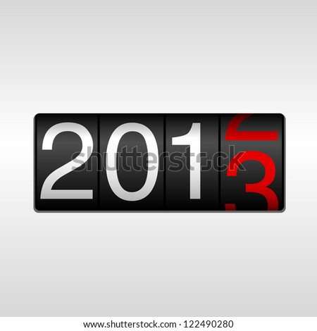 2013 New Year Odometer - New Year 2013 design - odometer style with white and red numbers.  Uses simple gradients.