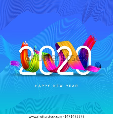 2020 New Year of a colorful brush stroke oil or acrylic paint design element. Reative element for design modern cards invitations party for the New Year 2020 and Christmas Modern vector illustration.