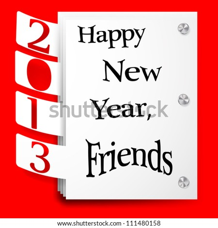 2013 New Year promotional tags. Paper sticker on red background