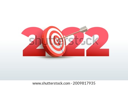 2022 New Year realistic target and goals with symbol of 2022 from red archery target, arrows archer and number. Vector resolution and target for new year 2022 concept. Illustration on white background
