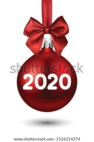 2020 New Year red ball with satin bow. Greeting card or decoration. Winter decoration - Vector