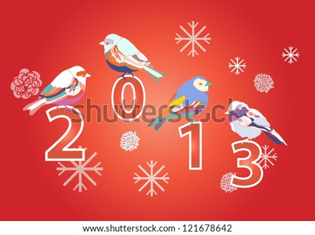 2013 New year red card with cute birds - stock vector