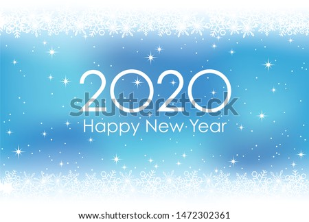 2020 New Year's card abstract background with snowflakes, vector illustration.