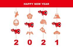 2021 New Year's card Red cow figurine and lucky charm hanging chick illustration (plum flower, pine, bamboo, battledore, daruma, crane, Mt. Fuji, sea bream)