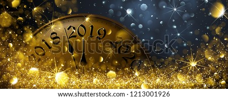 New Year s Eve 2019. Festive Old Clock Vector illustration