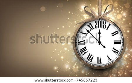 2018 new year sepia background with clock vector illustration