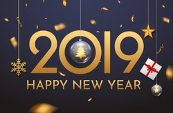 2019 new year shining background with ball. Happy new year 2019 celebration decoration poster, festive card template.