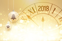 2018 new year shining background with clock and glass balls. Happy new year 2018 celebration decoration poster, festive card template.