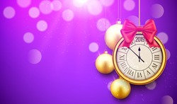 2019 new year shining background with clock. Happy new year 2019 celebration decoration golden balls poster, festive card template.