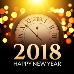 2018 new year shining background with clock. Happy new year 2018 celebration decoration poster, festive card template