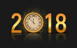 2018 new year shining background with clock. Happy new year 2018 celebration decoration poster, festive card template.